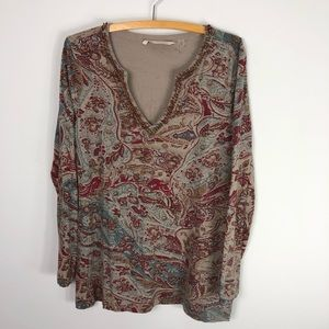 Soft Surroundings Beaded Printed Tunic Top Cotton